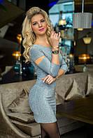 Коктейльное Платье светло-серый люрекс, фото 1