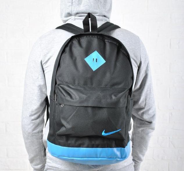 Рюкзак NIKE /Найк унисекс с кожаным дном. Черный с голубым. Гродской, спортивный. Vsem
