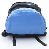 Рюкзак NIKE /Найк унисекс с кожаным дном. Черный с голубым. Гродской, спортивный. Vsem, фото 4