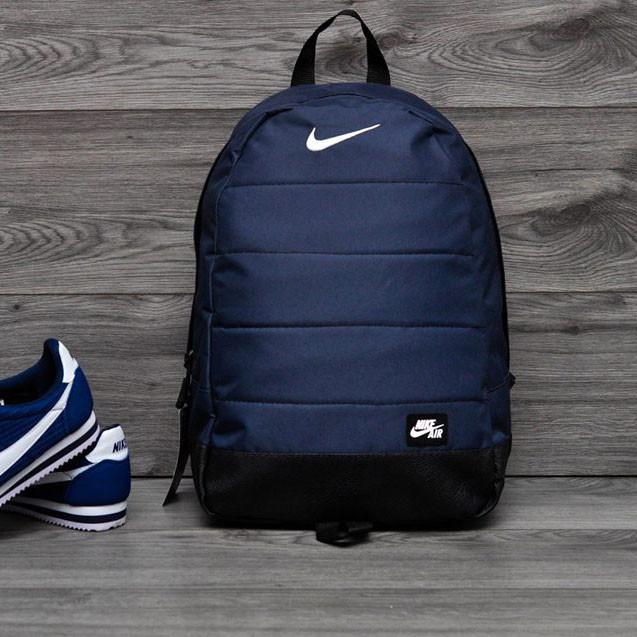 Качественный рюкзак Nike Air, найк темно-синего цвета с вставками кож зама черного цвета. Vsem