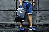 Городской рюкзак, для тренировок, портфель New Balance, нью бэланс. Серый с черным. Vsem, фото 5
