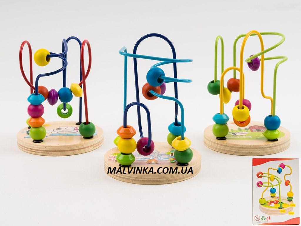 Деревянная игрушка Лабиринт на проволоке, 12 см,в коробке арт 0060 .