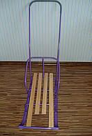 Детские санки с ручкой, фиолетовые СД-1Р