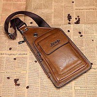 Сумка-рюкзак на одно плечо, кобура, слинг Jeep Buluo. Коричневая / J 602 brown Vsem