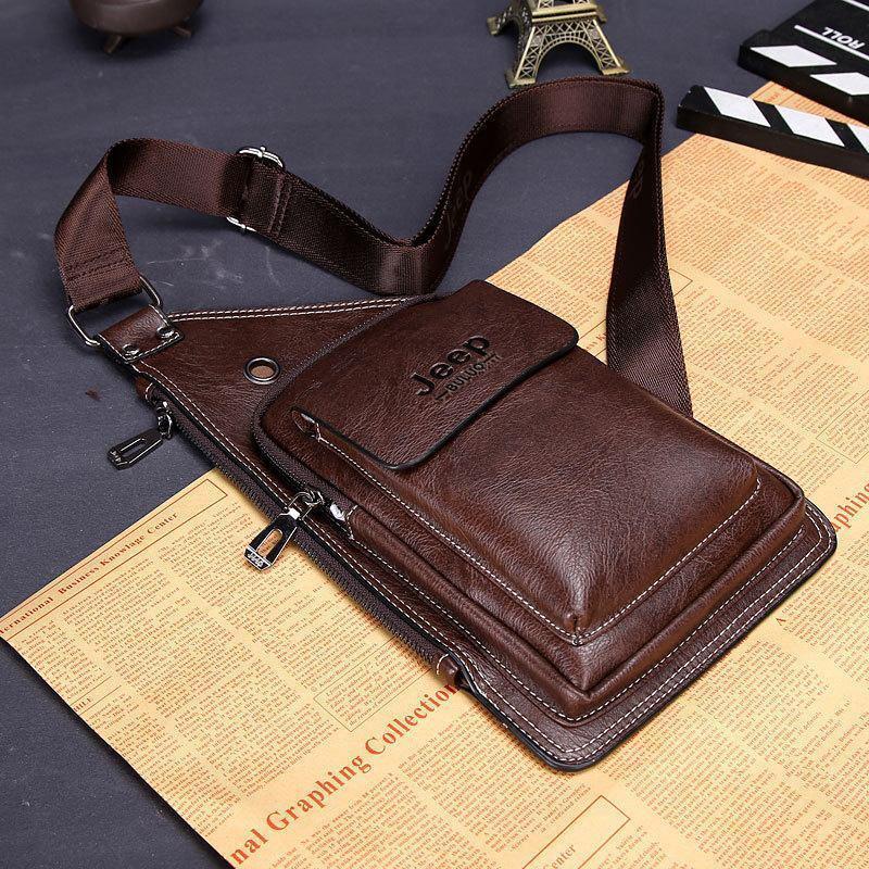Сумка-рюкзак на одно плечо, кобура, слинг Jeep Buluo. Темно-коричневая / J 603 DB Vsem