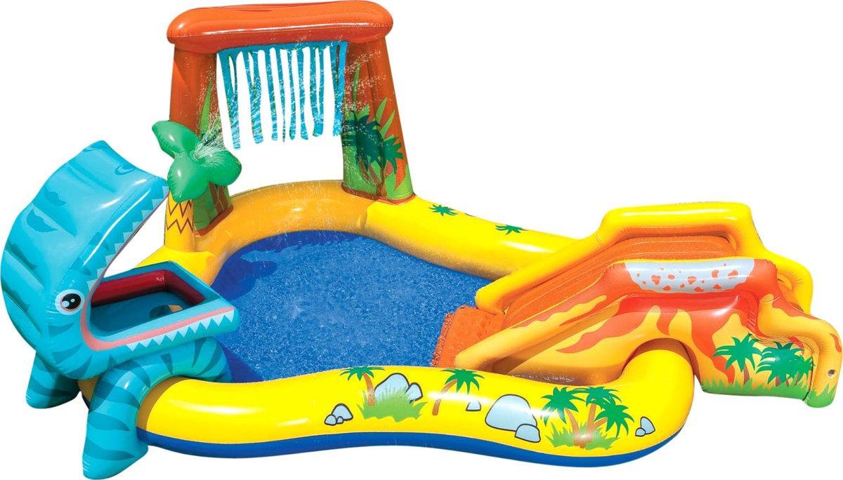 """Детский игровой надувной центр """" Динозавры"""" с горкой, фонтаном и  шариками ."""