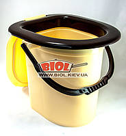 Ведро-туалет пластиковое 18л 37х36х35см с крышкой (цвет - бежево-коричневый) Горизонт GR-05018