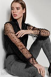 Стильная шелковая блуза черного цвета