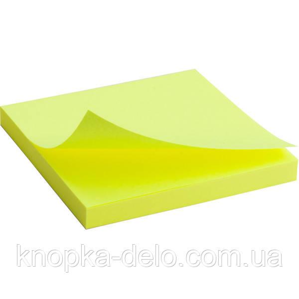 Блок бумаги Axent 2414-11-A с липким слоем, 75x75 мм, 80 листов, неоновый желтый