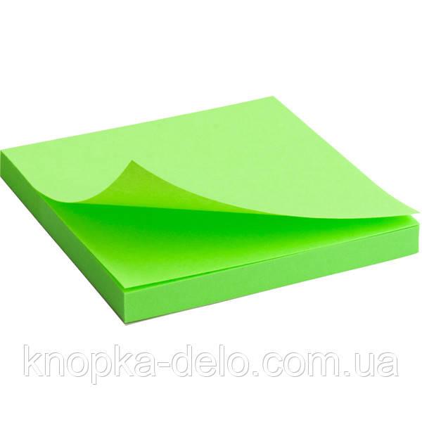 Блок бумаги Axent 2414-12-A с липким слоем, 75x75 мм, 80 листов, неоновый зелёный
