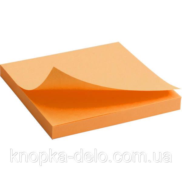 Блок бумаги Axent 2414-15-A с липким слоем, 75x75 мм, 80 листов, неоновый оранжевый