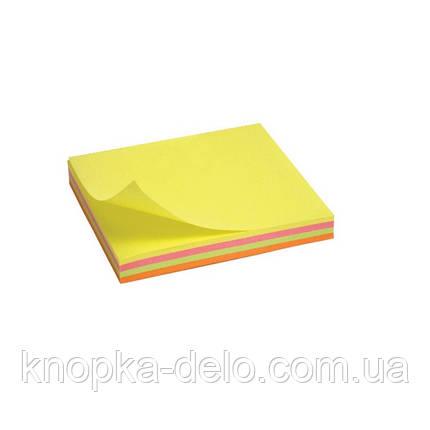 Блок бумаги Axent 2325-02-A с липким слоем 75x75 мм, 100 листов, неоновые цвета, фото 2