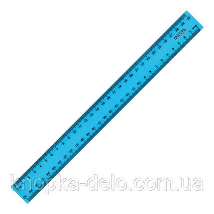 Линейка пластиковая Delta D9800-03 30 см, матовая, голубая, фото 2