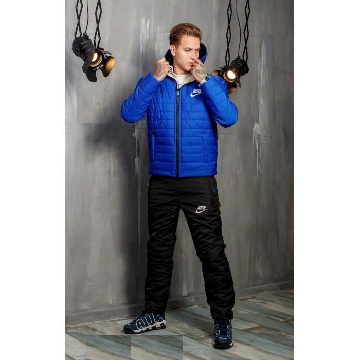 Зимний мужской костюм Nike синий на овчине топ реплика
