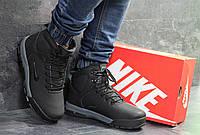 Ботинки зимние мужские в стиле Nike Karstman, нубук, натуральный мех код SD-6886. Черные с серым