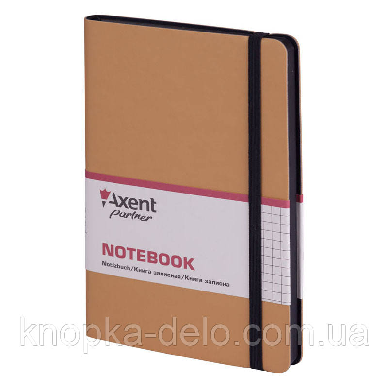 Книга записная Axent Partner Soft 8206-35-A, 125х195 мм, клетка, золотая
