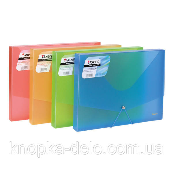 Папка на гумці об'ємна Axent 1502-10-A, А4, асортимент прозорих кольорів