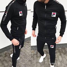 Мужской теплый спортивный костюм FILA на флисетоп реплика
