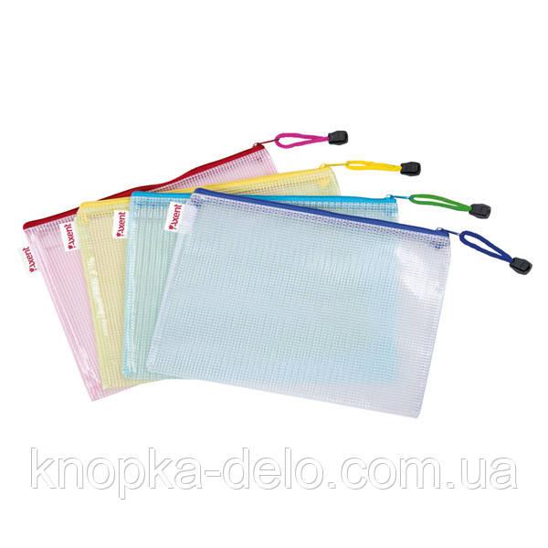 Папка-конверт на молнии Axent 1406-00-А, А4, полупрозрачная, ассортимент цветов