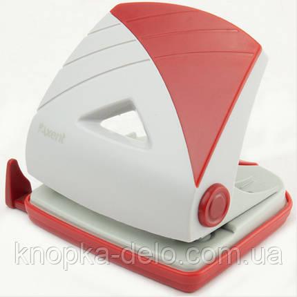 Дырокол Axent Duoton 3725-06-A с пластиковым верхом, 25 листов, серо-красный, фото 2