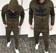 Мужской теплый спортивный костюм Adidas хаки на флисе топ реплика db67953121354