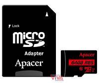 Карта памяти microSDXC Apacer 64GB UHS-I U1 Class 10 (R85 MB/s) + SD-adapter