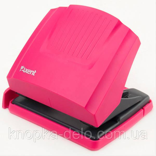 Дырокол Axent Shell 3430-10-A с пластиковым верхом, 30 листов, розовый
