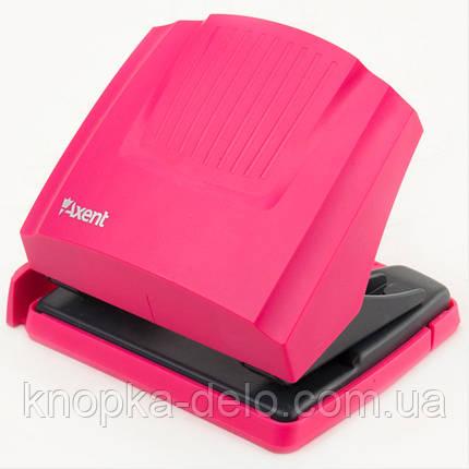 Дырокол Axent Shell 3430-10-A с пластиковым верхом, 30 листов, розовый, фото 2