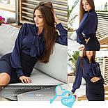 Классическая синяя блуза с длинным рукавом, фото 4