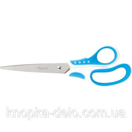 Ножницы Axent Shell 6305-02-A, 21 см, прорезиненные ручки, бело-голубые, фото 2
