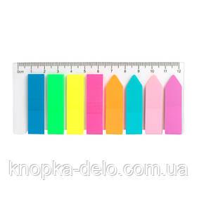 Закладки пластиковые неонового цвета Delta D2451, прямоугольные + стрелки, 12х45 мм, 200 штук
