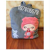 Плед игрушка подушка рюкзак серый подарок для детей 3 в 1