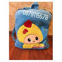 Плед игрушка подушка рюкзак голубой подарок для детей 3 в 1