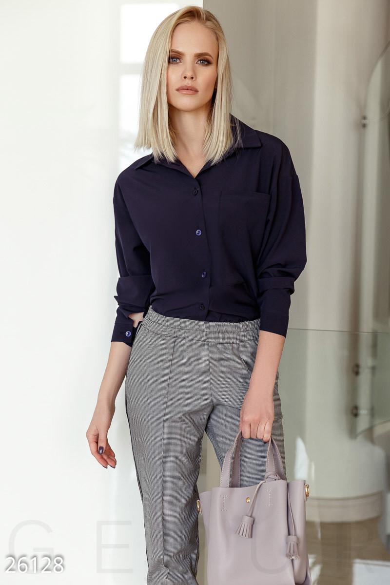 991eb5c075b Стильная Блуза-рубашка Темно-синего Цвета — в Категории