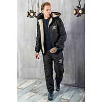 Зимний мужской костюм Adidas на овчине топ реплика