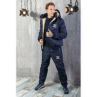 Зимний мужской костюм Adidas на овчине темно-синий топ реплика