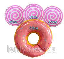 """Готовый Набор шаров """"ВКУСНЯШКИ"""" (пончик и 3 """"Lollipop/Лоли Поп') персиков-розовый цвет Sweet Party"""