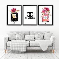 Набор постеров в рамках Chanel 3 шт. №1