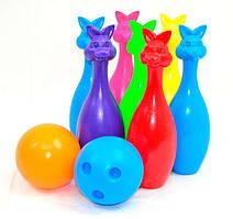 Игровой набор для боулинга BAMSIC Кегли Зайцы 9 предметов Разноцветные (2-024-29685)