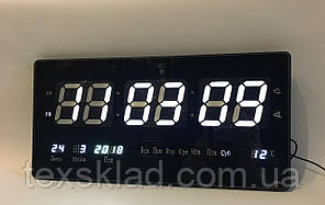 Настінні електронні годинники Led Clock 3615 білі (36х15см/Руське меню)