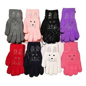 """Перчатки детские двойные+начес для девочек """"Кролики"""" 6-9 лет Оптом 5935 M."""