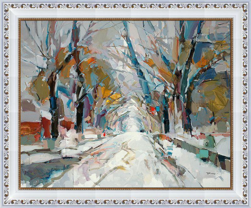 Репродукция  современной картины  «Белый цвет зимы II» 28 х 35 см