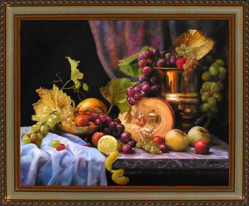 Репродукция  современной картины  «Натюрморт с фруктами и кувшином» 28 х 35 см