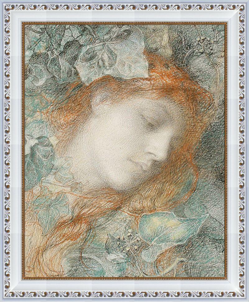 Репродукция  современной картины  «Голова девушки в плюще» 28 х 35 см