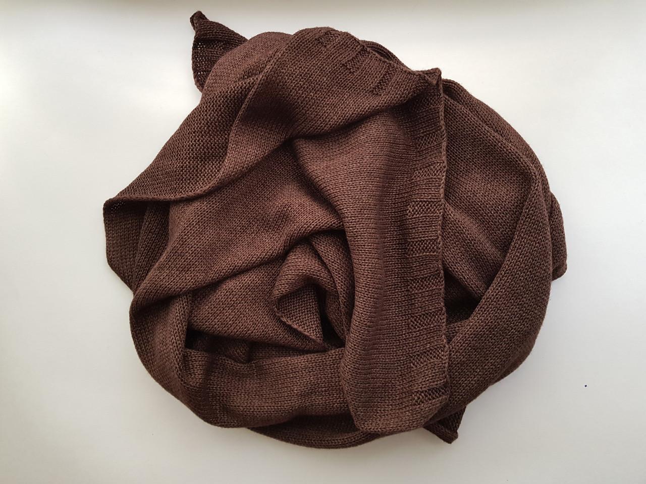 Кашемировый шарф knitted Chadrin коричневый, фото 1