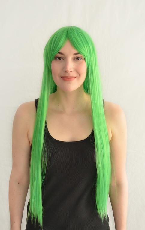 Парик ультра-длинный прямой зеленый 80 см.