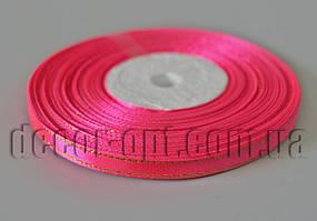 Лента атласная оттенок ярко-розовый с золотым люрексом 0,6 см 30ярд 14
