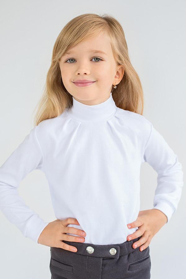 Гольф трикотажный для девочки белый 2-9 лет однотонный