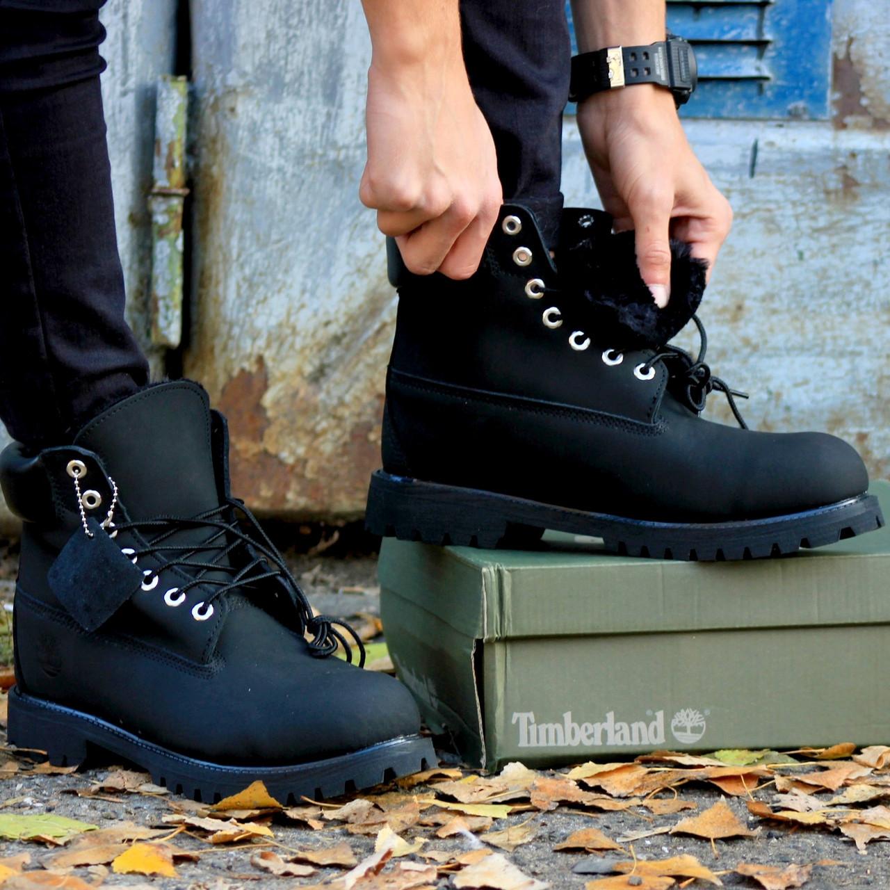 Ботинки женские Timberland Classic Boots (черные) МЕХ! Top replic