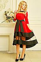 Нарядное женское платье миди со вставками из сетки красное